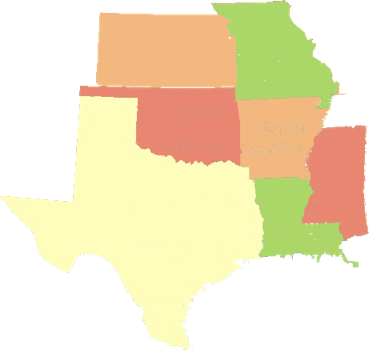 Map of Arkansas and the surrounding states